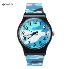 GENVIVIA New Brand High Quality 2017 Hot Sale Camouflage Children Watch 5 Colors Quartz Wristwatch For Girls Boys Hot Sale