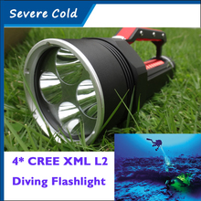 Super Bright 4* CREE XML L2 LED Diving Flashlight Torch Waterproof Portable Searching Diving Lamp Underwater Flashlight