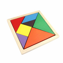 Kid Wooden Toys Tangram Brain Teaser Tetris Game Colorful Geometry Shape Jigsaw Puzzle Educational Wooden Puzzle Toys