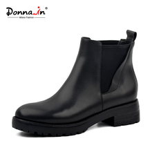 Donna-in women's winter boots genuine leather Chelsea women boots real wool fur inside snow boots thick outsole low heels warm(China)