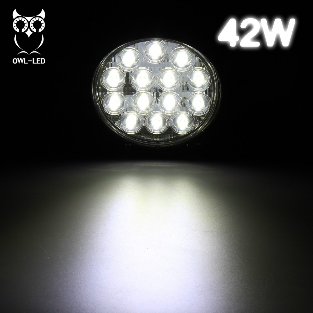 Car accessories round 42w led work light for truck, good waterproof auto parts 42w factory price drive light led spotlight 4x4<br><br>Aliexpress