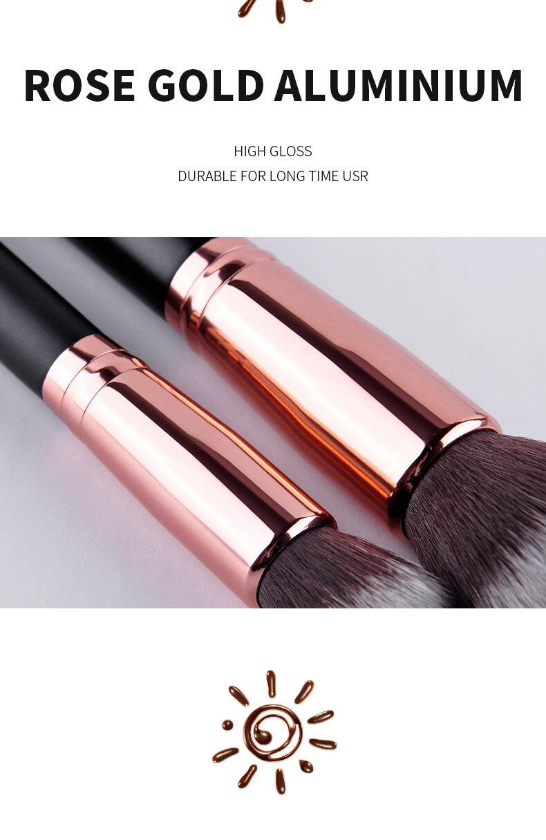 MSQ 8pcs Makeup Brushes Set Rose Gold Foundation Powder Eye Make Up Brushes Kit Soft Goat&Synthetic Hair With PU Leather Case