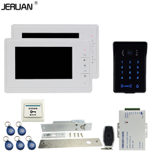 JERUAN Luxury 7`` video door phone intercom system Kit 2 monitor RFID waterproof Touch Key password keypad Camera Remote Control