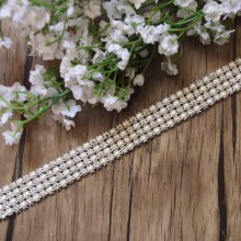 Free Shipping 1yard 4rows Crystal Rhinestone&Pearl Mesh Trim, Rhinestone Applique,Wedding Applique,Rhinestone Chain LSRT12192