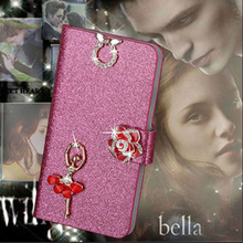 Luxury PU Leather Wallet Case For Apple iPhone 4 4S Flip Cover Shining Crystal Bling Case with Card Slot & Bling Diamond