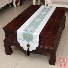 3 sizes Chinese Vintage Mixed Silk&Brocade Flower and  Pattern White Table Runner  Bed Flag with Jade tassel