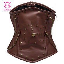 Brown Faux Leather Steampunk Corset For Slimming Belt Men Waistcaot Steel Boned Underchest Waist Trainer Corsets and Bustiers(China)