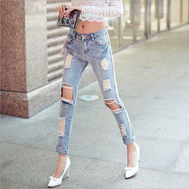Womens plus size Brand hole pencil jeans 2017 Summer New Fashion Pure cotton broken hole Jeans Skinny denim pencil pants LadiesÎäåæäà è àêñåññóàðû<br><br>