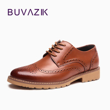 2017 new Men Brogues Shoes Men's Oxfords Dress Shoes Wedding Genuine Leather Business Vintage Retro shoes free shipping