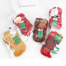 Autumn And Winter Coral Cashmere Socks Three - dimensional Cartoon Christmas Series Non - slip Children 's Thick Socks Sleep Soc