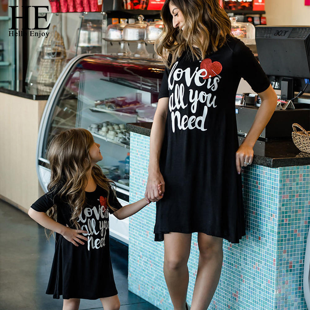 HE-Hello-Enjoy-Mother-Daughter-Dresses-Family-Matching-Clothes-Black-Print-Letter-Love-Dress-Mommy-And