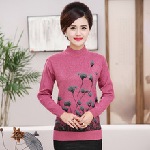 NIFULLAN Christmas Sweater Jumper Women Knitwear Casual Slim Pullover Turtleneck Print Plus Size Mother Long Sleeve Knitted Tops