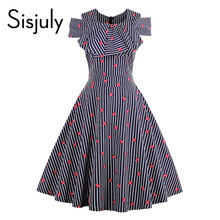 Sisjuly women pin up vintage dress striped ruffled cute dresses off shoulder summer female a line party red lip vintage dresses(China)