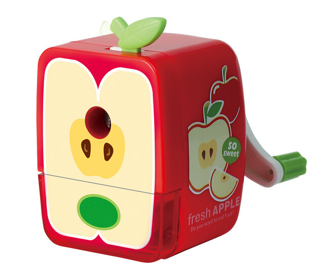 freeshipping machine hand  fruit  pencil sharpener for school children ,red,orange,coffee,green colors for your selection<br>