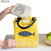XZJJA Creative Portable Lunch Food Insulation Bags Cute Fish Pattern Handbag For Outdoor Picnic Lunch Box Drink Storage Bag(China)