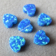 20pcs/lot 8mm Double Flat Heart Opal OP05 Dark Blue Heart Opal Drilled Synthetic Cabochon Heart Opal for Opal Necklace & Pendant
