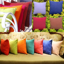 Solid Square Shape Back Throw Cushion Decorative Pillow Case Cover Soft Cotton Blended Pillowcase Home Decor 45*45cm/40*40cm(China)