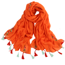 lady foulard embroidered scarf shawl for women from india shawl scarves winter pashmina cotton voile scarf luxury brand 2018 new(China)