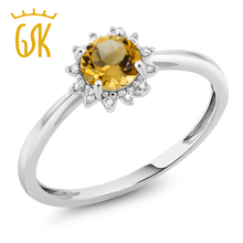 2017 new type ring of women engagement 10K White Gold 0.45 Ct Round Yellow Citrine Diamond Ring pattern design delicacy fashion(China)