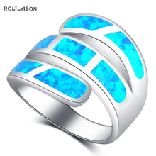 ROLILASON Party Gifts for Women Excellent Blue Fire Opal 925 Silver Luxury Fashion Jewelry Rings USA Size #6#7#8#9#10 OR869(China)