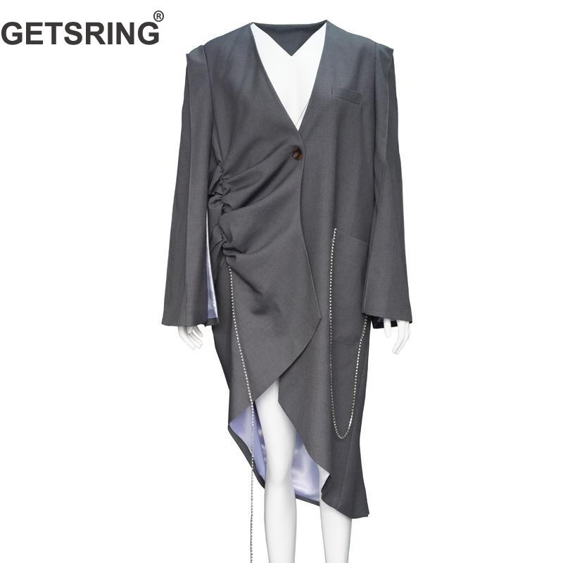 GETSRING Women Blazer Irregular Long Blazer Loose Long Blazer Jacket Diamond Chain Womens Jackets Asymmetry Women Coat Spring