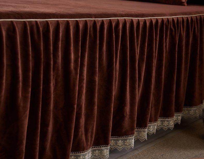 3Pcs Fleece Bed Skirt Set W/ Pillowcases, Mattress Protective Cover 39