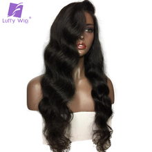 Luffy Body Wave Brazilian Glueless Full Lace Human Hair Wigs With Baby Hair For Black Women Non Remy Natural Color 130 Density(China)