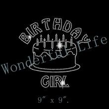 Free shipping hot fix Birthday Girl Rhinestone Transfer - Iron On DIY Bling  - Birthday Cake 9a9aff10f2ab