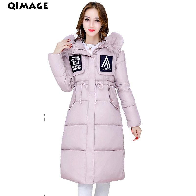 QIMAGE 2017High Quality winter Long ParkasWomen Thick Fur Collar Jacket sCoat  Female SlimHood Cotton Coat Women Parkas PlusSizeÎäåæäà è àêñåññóàðû<br><br>