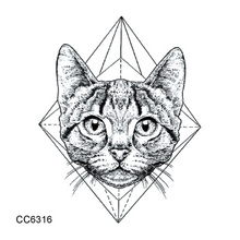 CC6316 6X6cm Little Vintage Old School Style Kidded Cat Head Temporary Tattoo Sticker Body Art Water Transfer Fake Taty