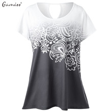 Gamiss Women Summer O neck Female T-shirt Short Sleeve Back Hole Women Shirts Top harajuku Plus Size Gradient Color Woman Tee