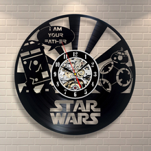 Free Shipping 1Piece Star Wars R2D2 BB8 Black Vinyl Record Clock Creative CD Wall Clock 3D Decorative Hanging Clocks Wall Art