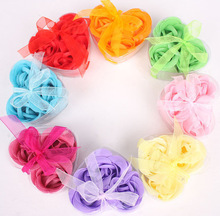 3Pcs/Box Colorful Heart-Shaped Rose Soap Flower Romantic Wedding Party Gift Handmake Flower Petals Decor Christmas gift