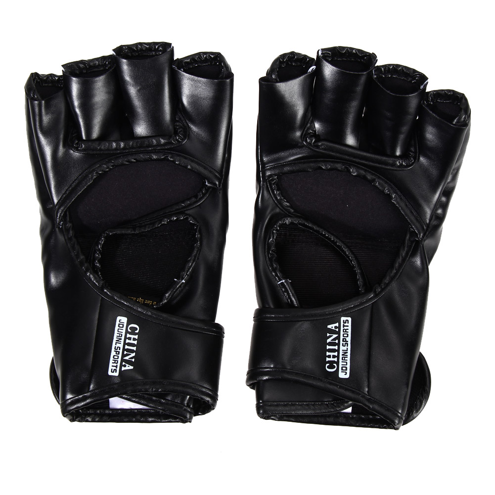 Boxing Gloves MMA Gloves Muay Thai Training Gloves MMA Boxer Fight Boxing Equipment Half Mitts PU Leather Black/Red 7