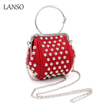 PU Evening Pack Bag Luxury Style Women's Clutches Rivet Chains Evening Bags Wedding Party Bags Clutch Bag Lady Minaudiere(China)