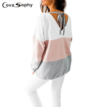 Cova Sophy Women Blouses 2017 Autumn Long Sleeve Striped Casual Loose Back V-neck Tops - cova sophy cutee Store store