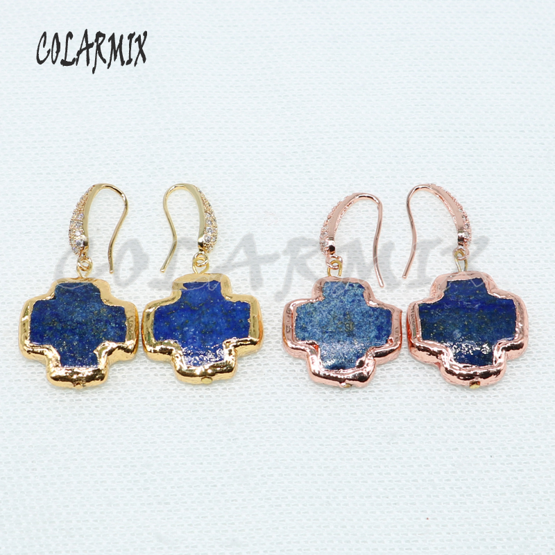 Wholesale Blue stone cross shape stone earrings Blue stone earrings fashion jewelry earrings gift for lady 4965