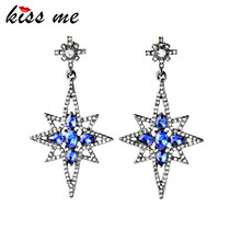 KISS ME Jewelry New Arrival Amazing Blue Star Quartz Drop Earrings China Factory Wholesale