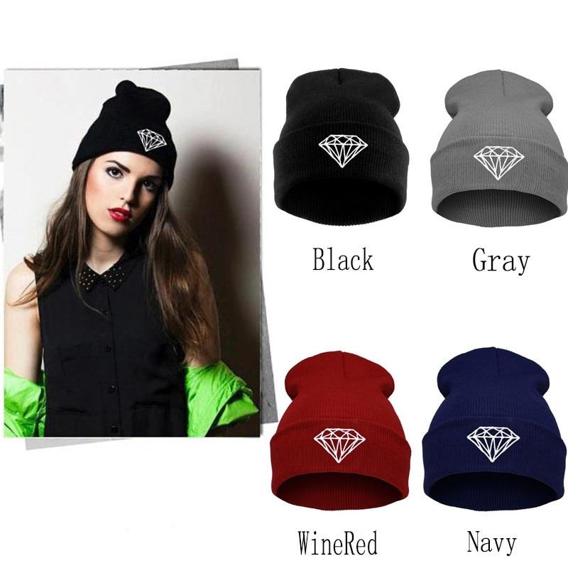 Fashion Womens Winter Hats and Caps Men Bonnet Winter Hats Elastic Hip Hop Diamond Embroidery Keep Warm CapsÎäåæäà è àêñåññóàðû<br><br><br>Aliexpress
