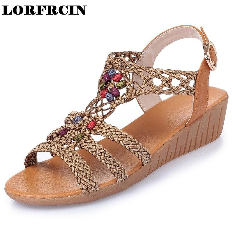 LORFRCIN Summer Women Sandals 2017 Vintage Gladiator Sandals Women Shoes Bohemia Wegdes Shoes Woman Sandalias Mujer Ladies Shoes<br>