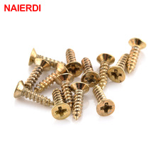 100PCS NAIERDI 2x6/8/10mm Screws Nuts Golden M2 Flat Round Head Fit Hinges Countersunk Self-Tapping Screws Wood Hardware Tool