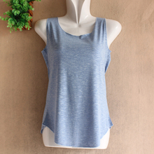 F Spring Summer New Tank Tops Women Sleeveless Round Neck Loose Shirt Ladies Vest Singlets Bamboo Cotton Casual Tops Vest(China)