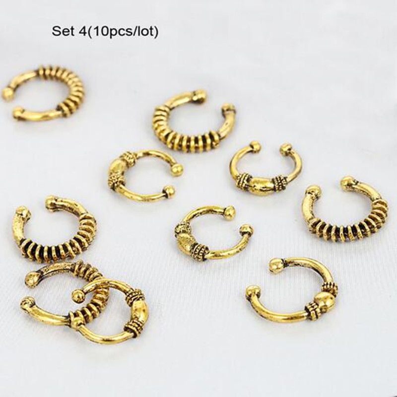 Silver Hair Braid Dreadlocks Bead 6Pcs per Set Per Lot Gold Tone Hair Cuffs Dread Tube Charm Dreadlock Accessaries Extension