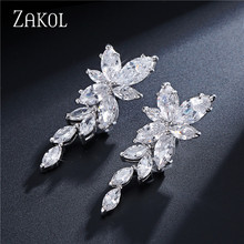ZAKOL Marquise Cut Cluster Flower Zirconia Crystal Long Dangle Drop Earrings Shiny Leaf Bridal Wedding Jewelry for Women FSEP167(China)