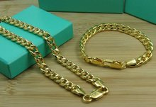 18 K Yellow Gold Vacuum Plated Link Chain Jewelry Set Necklace & Bracelet Fashion Trendy Cool Men Engagement Accessories S547