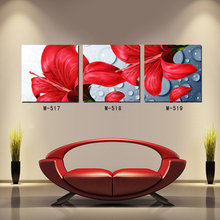 Three board map canvas panting enthusiastic red flowers Dining-room decorate household adornment picture Pictorial poster printi