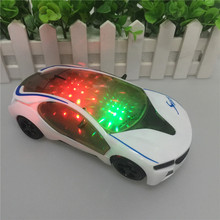 White Car 3D Flash Light Music Electric BMW Car Model Kids Toys Car Collection For Kids Birthday Children's Day Gift