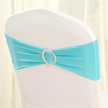 100pcs High Quality #9 Tiffany blue Spandex chair band with buckle/ spandex sash/chair sash for chair cover wedding decoration