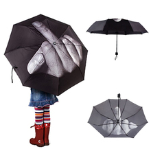 Unique Middle Finger Design Umbrella For Women Men Rain Parasol Iron Cloth Personality 3 Folding Durable Black Hand Umbrella(China)
