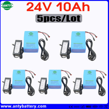 Wholesale 5pcs/Lot Lithium Battery 24v 10ah 350w eBike Battery Built in 15A BMS with 5pcs Charger Electric Bicycle Battery 24v